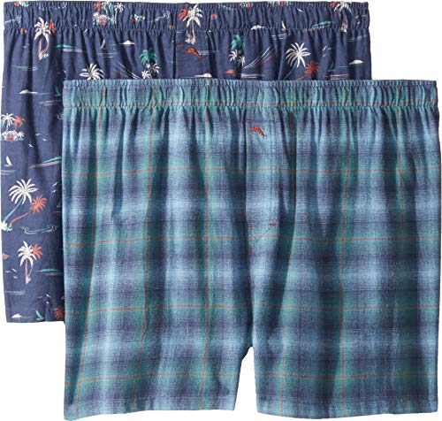 Tommy Bahama Men's 2 Pack Woven Flannel Boxer Short Set, Fall Plaid/Seascape, - Flannel Shorts Boxer