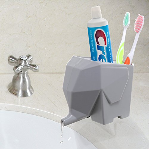 Abstract Gray Elephant Design Plastic Bathroom Toothbrush Holder / Kitchen Utensil Drying Rack Jar