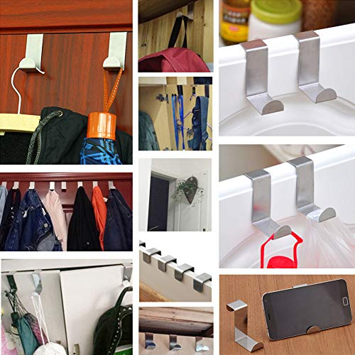 Set of 12 Over The Door Hooks,Z-Shaped Reversible Sturdy Hanging Hooks Dual Head Single Hanger for Over The Door or Cupboard Door,Drawer, Holders Hold up to 11Lbs,6 Different Size,Stainless Steel by BODINGTAI (Image #6)