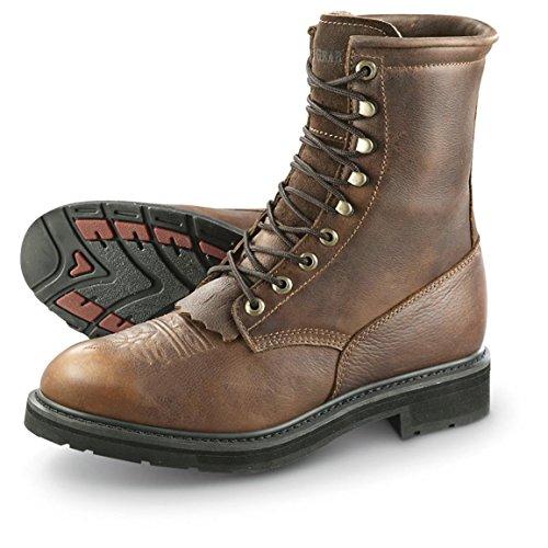 Guide Gear Men's Waterproof 9' Kiltie Leather Work Boots, Brown, 13D (Medium)