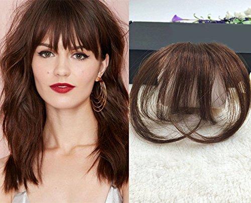 LaaVoo Clip in Bangs Hair Extensions Medium Brown Hair Pieces Air Bangs with Temples Clip Real Remy Human Hair