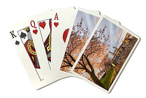 (Portland, Oregon - Cherry Blossoms and Waterfront (Playing Card Deck - 52 Card Poker Size with Jokers))