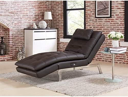 Lifestyle Solutions Relax-A-Lounger Titan Faux Leather Convertible Chaise Lounge in Brown