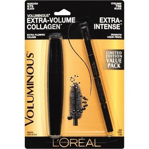 Value Pack L'oreal Voluminous Extra-volume Collagen Mascara #675 Black Washable Mascara + L'oreal Extra-intense Black Eyeliner #798 Full Size.