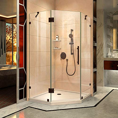 DreamLine Prism Lux 42 in. x 74 3/4 in. Fully Frameless Neo-Angle Shower Enclosure in Oil Rubbed Bronze with Biscuit -
