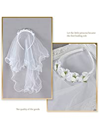 Valdler 2-Tier Beaded Veil with Attached Floral Headband...
