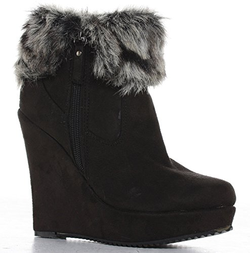 Womens Ladies Black Winter Fur High Wedges Ankle Platform Boots Size 3 - 8 xaHcTDPC