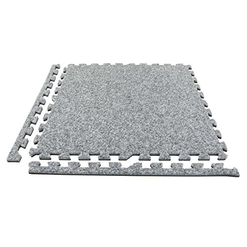 (IncStores Premium Soft Carpet Foam Tiles 2ft x 2ft (25 Tiles, Light Grey) Interlocking Home & Trade Show Flooring Foam Mats Including 2 Edge Pieces)