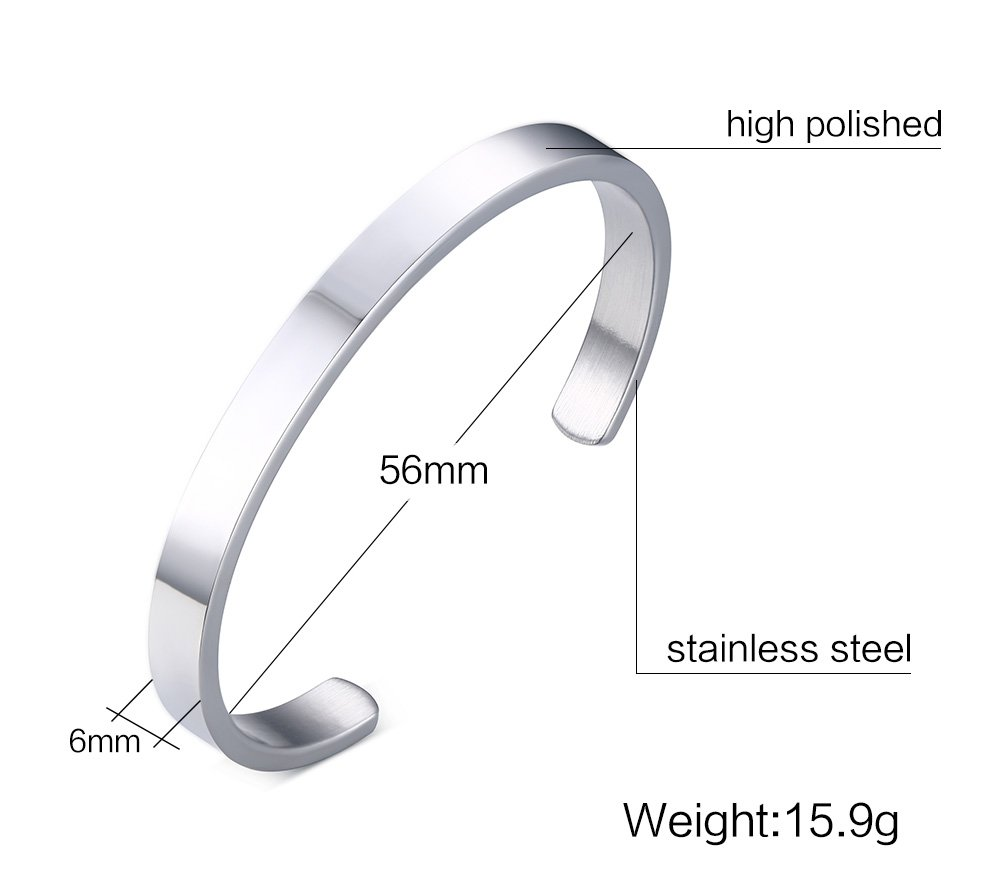 MG Stainless Steel Customs Engraving Quote Mantra Message Inspirational Cuff Bangle Bracelets for Men Women by Mealguet Jewelry (Image #2)
