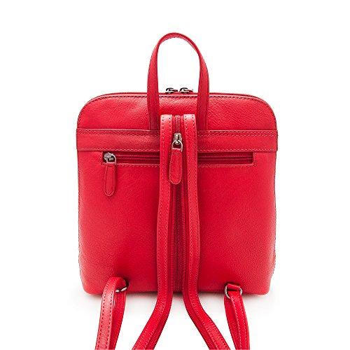 Zerimar Mochila Mujer | 100 % Piel Alta Calidad |Bolso Señora | Bolso de Mano | Bolso Grande | Bolso Pequeño | Múltiples compartimentos | Casual | Medidas: 26 x 25 x 7 cms Rojo