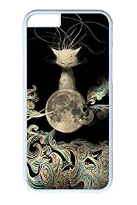 iPhone 6 Case, Personalized Unique Design Covers for iPhone 6 PC White Case - Cat With Moon