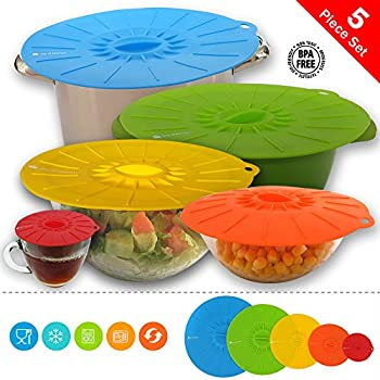 Joy of Kitchen Colorful Silicone Lids, Reusable Suction lids, Universal Covers for Pots, Pans, Bowls, Plates, Cups and Round Containers, Food Covers, Keep Food Hygienic, Fresh and Delicious, Set of 5