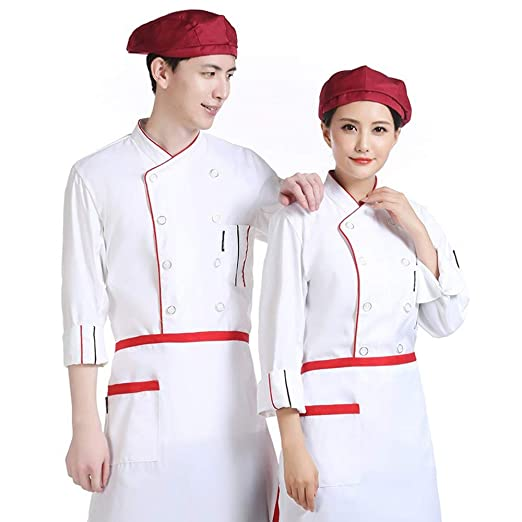 Camisa de Cocinero Cocina Uniforme Manga Larga Colores Múltiples ...