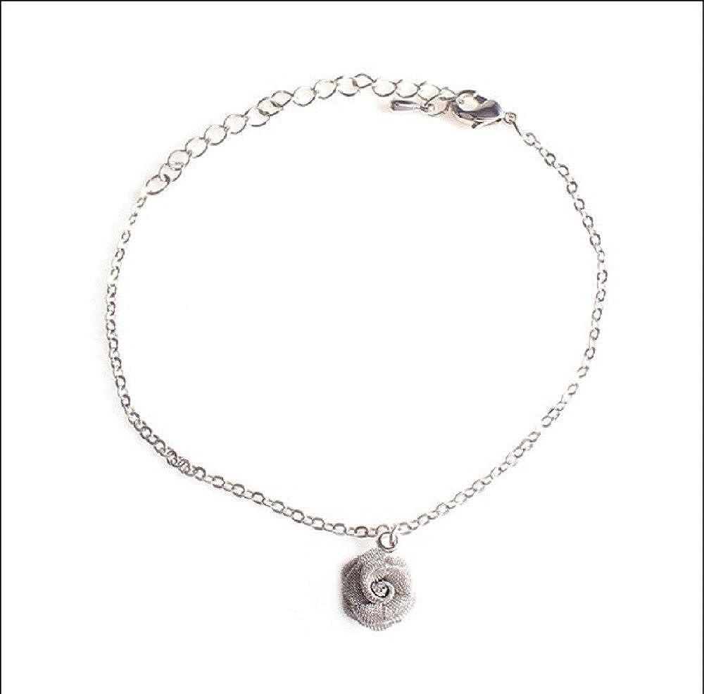 Rose Gold or White Gold Shimjee Handmade 14K Gold Filled Bracelet Mesh Rose Pendant Thin Chain