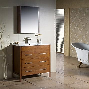Amazon Com Inolav Bathroom Vanity Morris 36 Chestnut With Porcelain Sink Top Furniture Decor