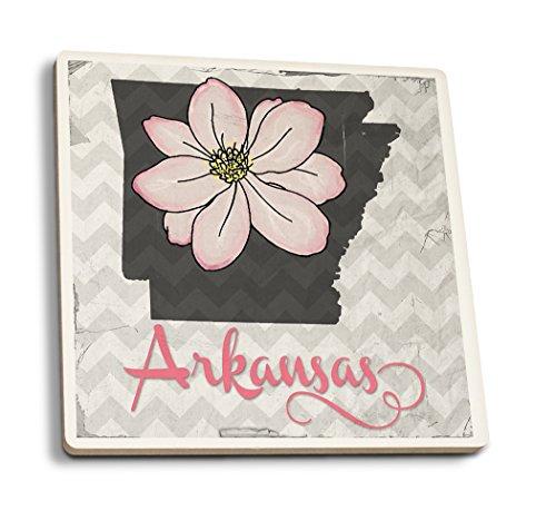 Lantern Press Arkansas - State Flower - Apple Blossom (Set of 4 Ceramic Coasters - Cork-Backed, Absorbent)