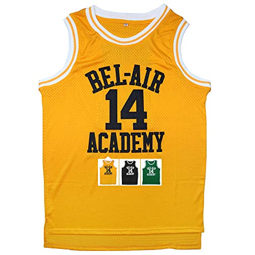 Micjersey Will Smith Jersey #14 The Fresh Prince Bel Air Academy Basketball Jersey S-XXXL (Yellow, XL)