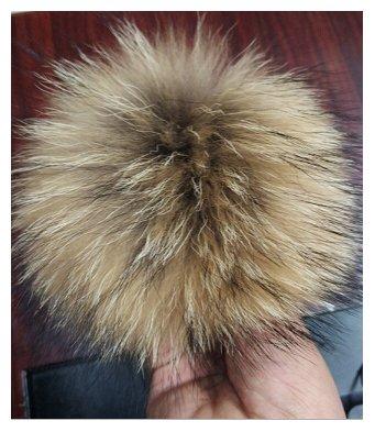 12-15 cm Fellbommel Gr. XL, Raccoon naturbraun Bommel fü r Mü tzen Pelzbommel Echtfellbommel QYQX