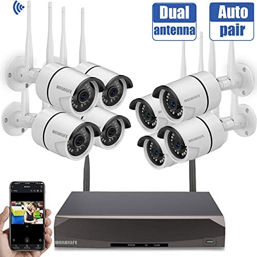 Security Camera System Wireless,8 Channel Home Outdoor Wireless Surveillance Camera System and 8Pcs 960P WiFi Security Weatherproof IP Camera with Night Vision,Remote View,NO Hard Drive