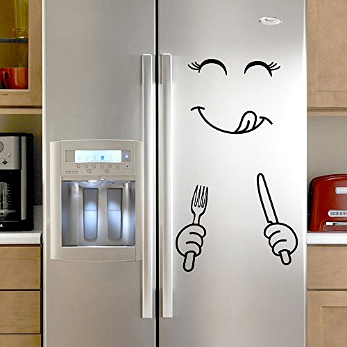 Dazlinea Wallpaper Cute Kids Favour Sticker Fridge Happy Face Kitchen Fridge Wall Refrigerator Vinyl Stickers Art Wall Decal Home Decor (Black)