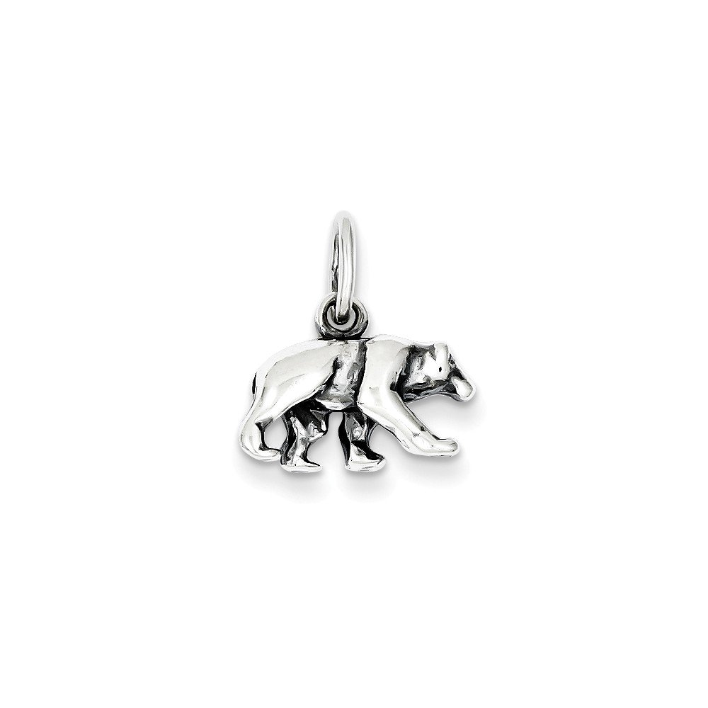 Mireval Sterling Silver Bear Charm (12 x 15mm)