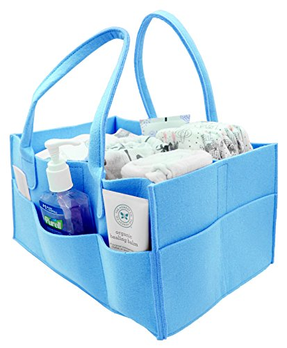 Little One Supply Co. Premium Storage Caddy for Baby Diapers (Baby Blue) | Storage Bin & Car Organizer Perfect for Wipes, Blankets, Toys and Bottles. Multiple Pockets, Perfect Baby Shower Gift (Who Sells Furniture)