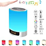 Night Lights Bluetooth Speaker, Alarm Clock with Touch Control LED Lamp Bedside Lamp Color Changing Wireless Speaker USB AUX MP3 Music Player Best Kids,Party,Outdoor, Bedroom
