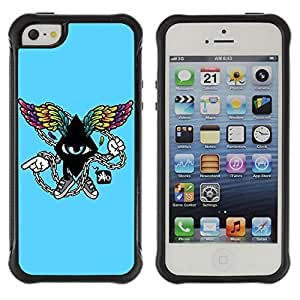 Hybrid Anti-Shock Defend Case for Apple iPhone 5 5S / Cool Abstract Wings Kimberly Kurzendoerfer
