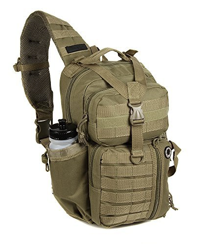 NPUSA Mens Tan Molle 2L Hydration Ready Sling Bag with Key Ring Carabiner + 2 Zipper Pulls [並行輸入品] B07R3V96L1