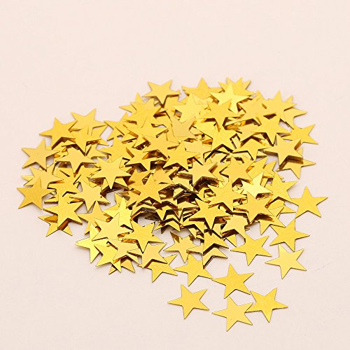 Table Confetti, Sparkle Star Sequins for Wedding Baby Shower Birthday Party Decorations, Confetti Glitter No Hole Embellishment- 6mm (Yellow) ()