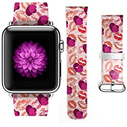Apple Watch Band, Stainless Steel Replacement Strap Wrist Band for Apple Watch Sport & Edition - 42mm - Valentine Design Red Lips and Heart