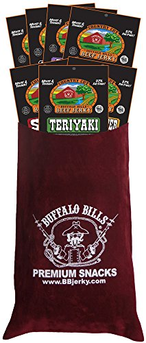 Buffalo Bills 7-Piece Country Cut Beef Jerky Sampler Burgundy Velour Wine Gift Bag (7 packs 1.5oz) -  Choo Choo R Snacks, Inc.