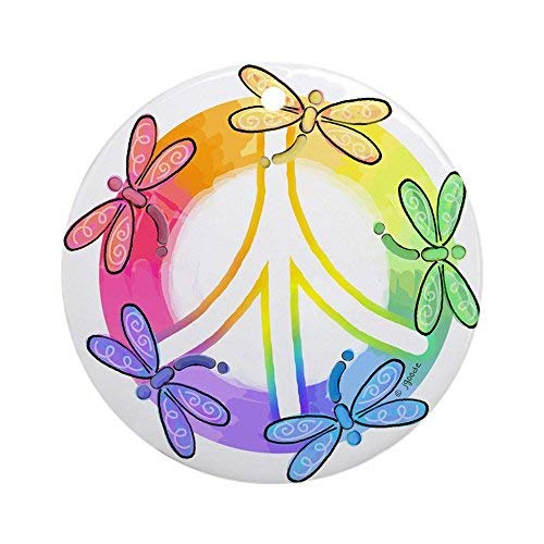 Delia32Agnes Dragonfly Peace Sign Christmas Ornaments Porcelain Ceramic Round 3 Inches Ornament Christmas Tree -