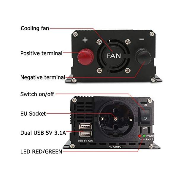 51BWPIMoMkL LVYUAN Spannungswandler 12V 230V 1000W / 2000W Wechselrichter LCD mit 2 USB