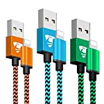 Phone Charger Founus Fast Charging Cable 6FT 3 Pack Nylon Braided High Speed Charging Cord Compatible with iPhone XS X 8 8 Plus 7 7 Plus 6s 6s Plus 6 6 Plus iPad iPod Nano-(Blue,Orange,Green)