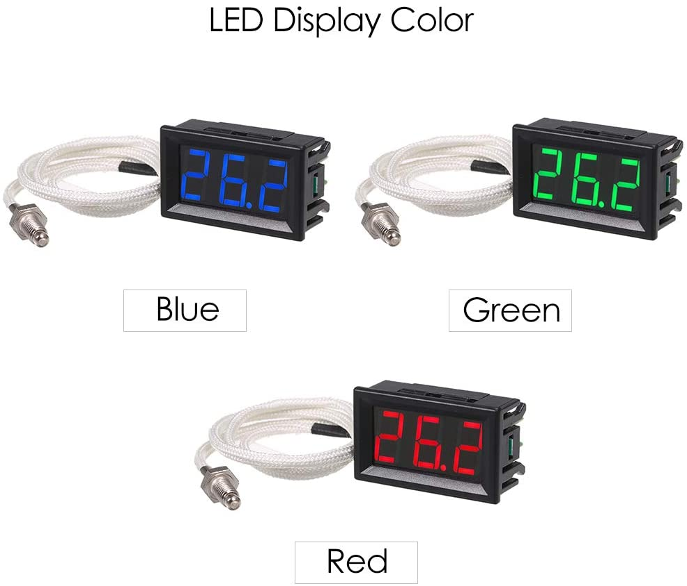 30~800 ℃ Term/ógrafo de alta precisi/ón con pantalla LED XH-B310 Term/ómetro digital industrial Medidor de temperatura de 12V Medidor de termopar M6 tipo K