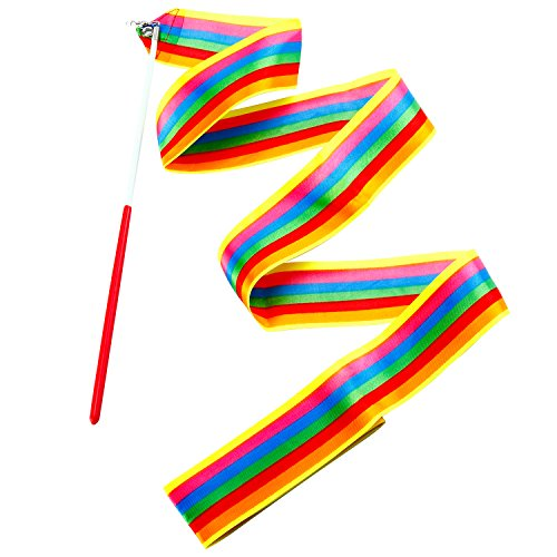 Aneco 14 Pieces Dance Ribbons Streamers Rhythmic Gymnastics Ribbon Wands for Kids Artistic Dancing, Baton Twirling, 14 colors by Aneco (Image #3)