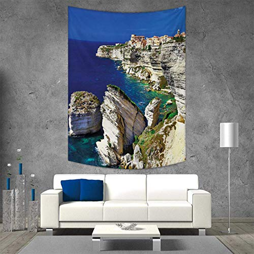 - smallbeefly Cityscape Tapestry Wall Hanging 3D Printing Binifacio Town Rocks Corsica Coastline Cliff Clear Ocean Summer Seascape Panorama Beach Throw Blanket 54W x 72L INCH Nacy Beige