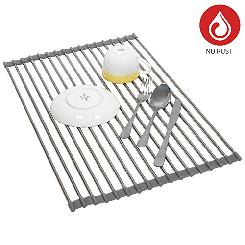 Tatkraft Spin Over Sink Roll Up Dish Drainer Stainless steel