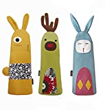 Hillento 3 Pack Lovely Animal Canvas Pencil Case