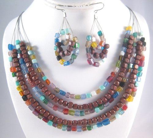 Wood Bead Necklace Earrings - 1