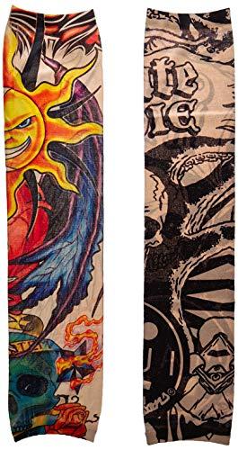 MUNI 6pcs Set Arts Fake Temporary Tattoo Arm Sunscreen Sleeves - arm Sleeve Temporary Tattoos for Women/Men-Designs Tiger, Crown Heart, Skull, Tribal & EtcUnisex Stretchable Cosplay Accessories (Heart Tribal Tattoo Designs)