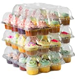 Cake Shield Clear Cupcake Boxes [6 Pack] Premium Cup Cake Carrier Container Holds 12 Cupcakes. 4