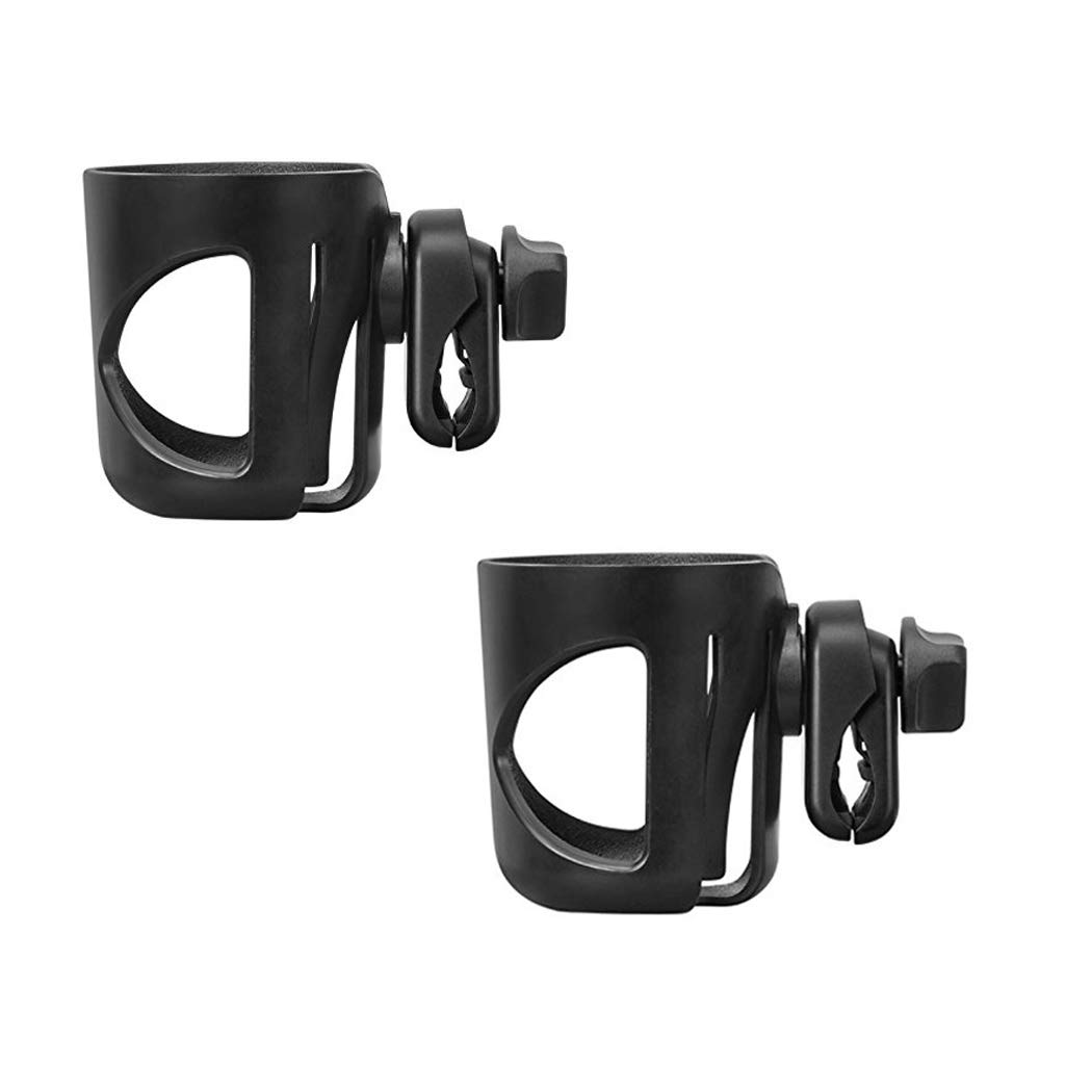 Wheelchair Cup Holders, Bike Cup Holder fits Baby Stroller, 360 Degrees Universal Pushchair Bicycle Strollers, Bike, Mountain Bike and Wheelchair, Black (2 Pack)