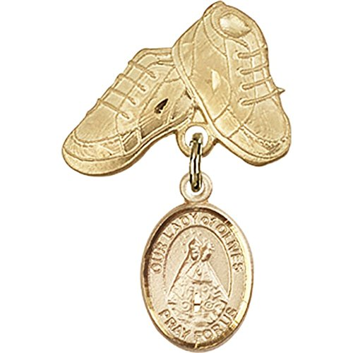 14kt Yellow Gold Baby Badge with Our Lady of Olives Charm and Baby Boots Pin 1 X 5/8 inches by Unknown