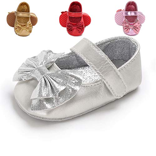 Baby Girls Princess Mary Jane Shoes Infant First Walker Shoes (13cm(12-18 months), G-Silver)