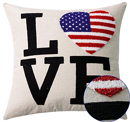 Love Amercian Heart Flag Embroidery Patriotic Decorations Decorative Throw Pillow Cover Stars Stripes in The Shape a Heart Throw Pillow Case Independence Day Gifts 18x18 inch