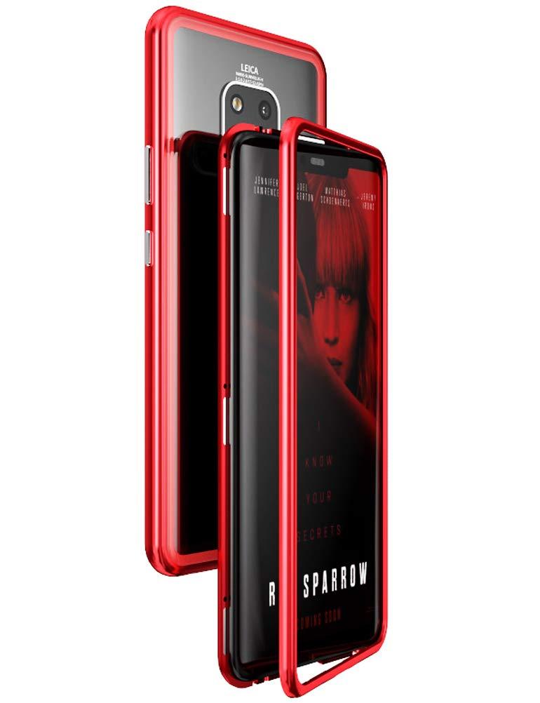KumWum Huawei Mate 20ケースアルミメタルバンパーケース磁気吸着テクノロジー強化ガラス製バックスリムカバー(Mate 20用)(Huawei Mate 20、Red)   B07KF7JYP3