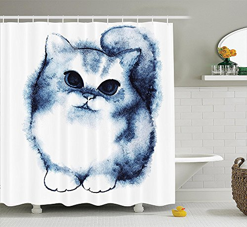 Navy Blue Decor Collection Cute Kitty Paint with Distressed Color Features Fluffy Cat Best Companion Ever Design Polyester Fabric Bathroom Shower Curtain Grey White
