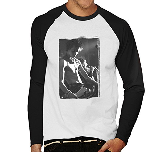 - Sid Vicious The Sex Pistols On Stage 1977 Men's Baseball Long Sleeved T-Shirt White/Black